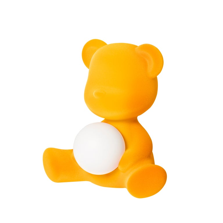 For Sale: Gold (Dark Gold) Modern Velvet Yellow Sculptural Teddybear Table or Floor Lamp 3