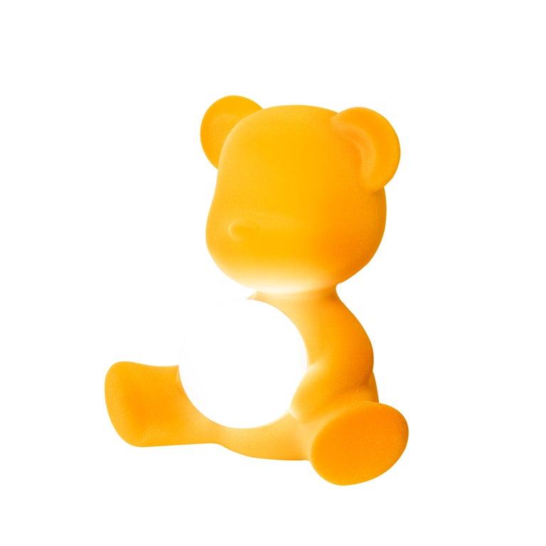 For Sale: Gold (Dark Gold) Modern Velvet Yellow Sculptural Teddybear Table or Floor Lamp 4