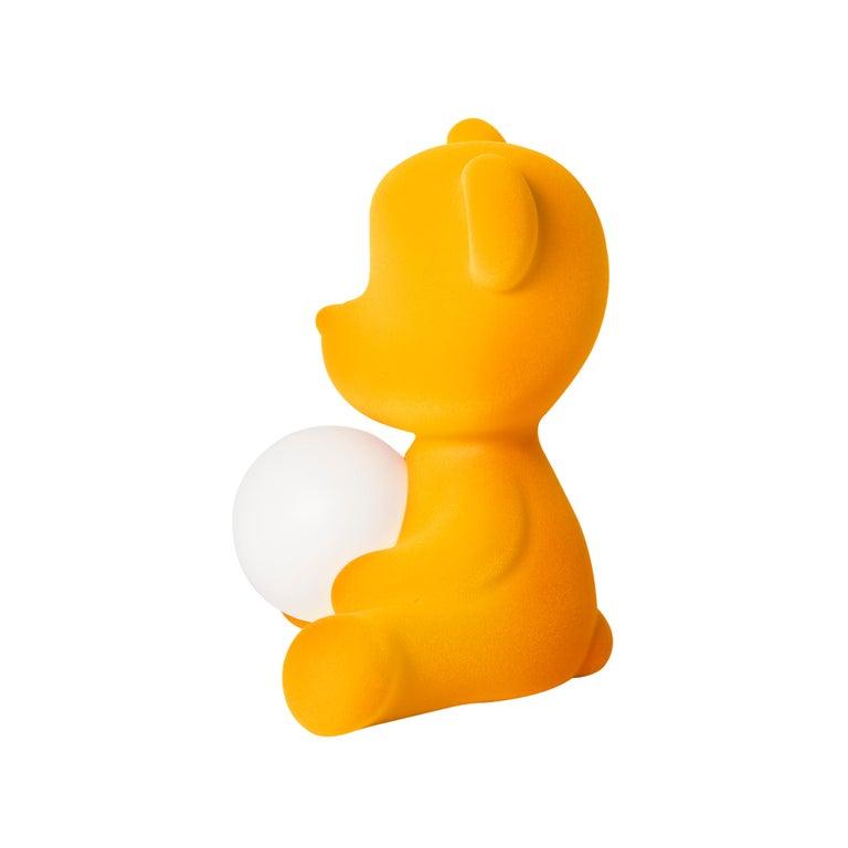 For Sale: Gold (Dark Gold) Modern Velvet Yellow Sculptural Teddybear Table or Floor Lamp 5