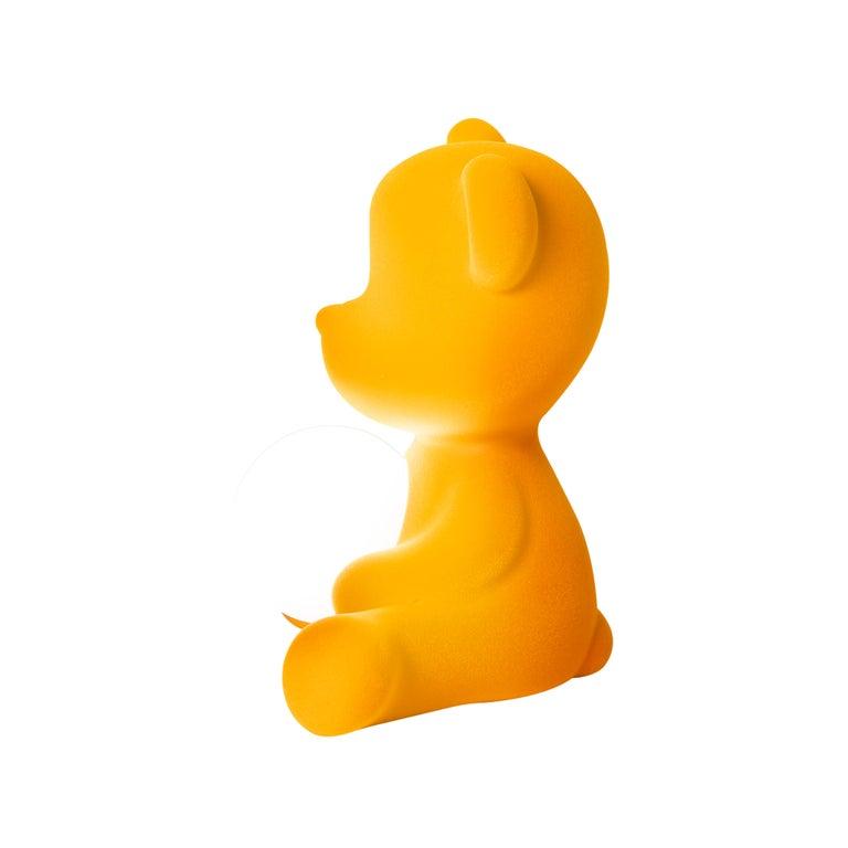 For Sale: Gold (Dark Gold) Modern Velvet Yellow Sculptural Teddybear Table or Floor Lamp 6