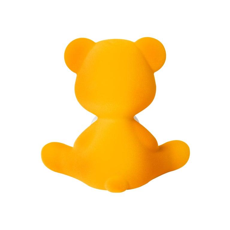 For Sale: Gold (Dark Gold) Modern Velvet Yellow Sculptural Teddybear Table or Floor Lamp 7