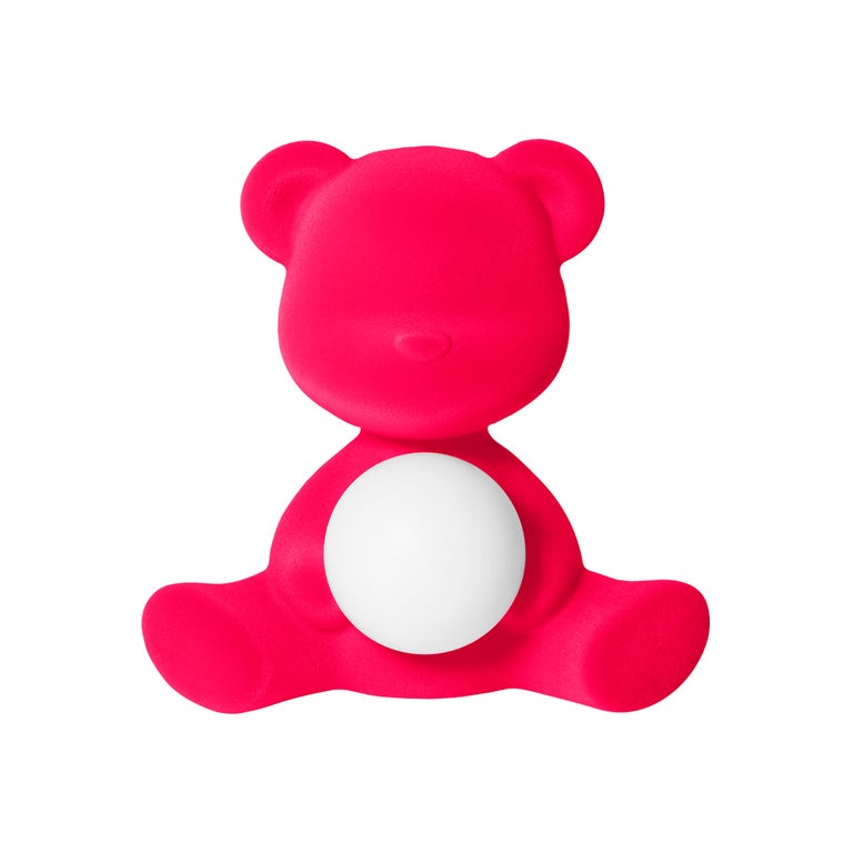 For Sale: Pink (Fuxia) Modern Velvet Yellow Sculptural Teddybear Table or Floor Lamp