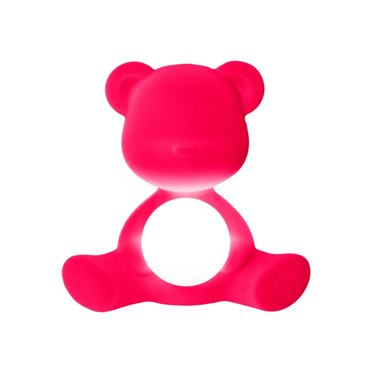 For Sale: Pink (Fuxia) Modern Velvet Yellow Sculptural Teddybear Table or Floor Lamp 2