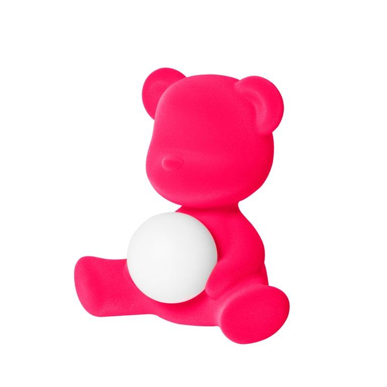 For Sale: Pink (Fuxia) Modern Velvet Yellow Sculptural Teddybear Table or Floor Lamp 3