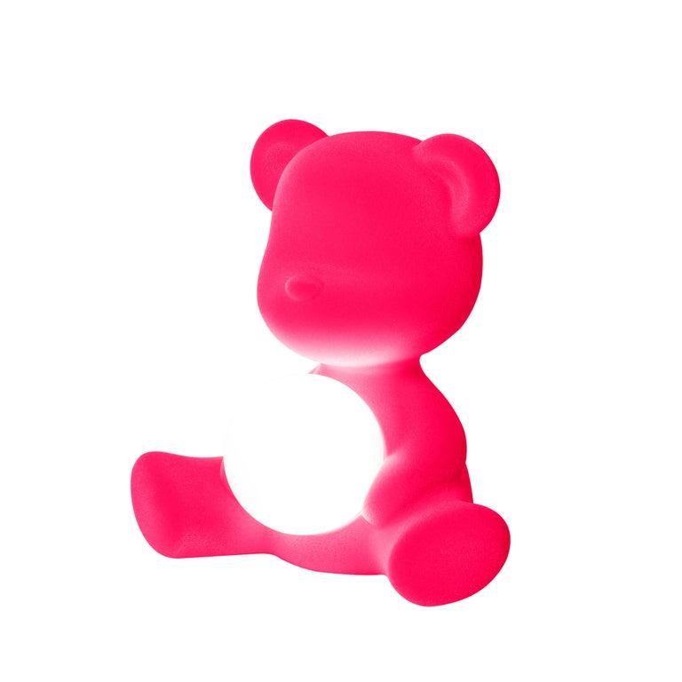 For Sale: Pink (Fuxia) Modern Velvet Yellow Sculptural Teddybear Table or Floor Lamp 4
