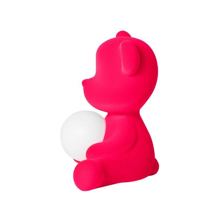 For Sale: Pink (Fuxia) Modern Velvet Yellow Sculptural Teddybear Table or Floor Lamp 5