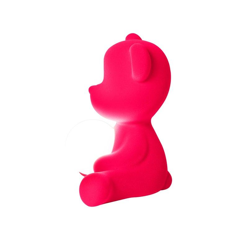 For Sale: Pink (Fuxia) Modern Velvet Yellow Sculptural Teddybear Table or Floor Lamp 6