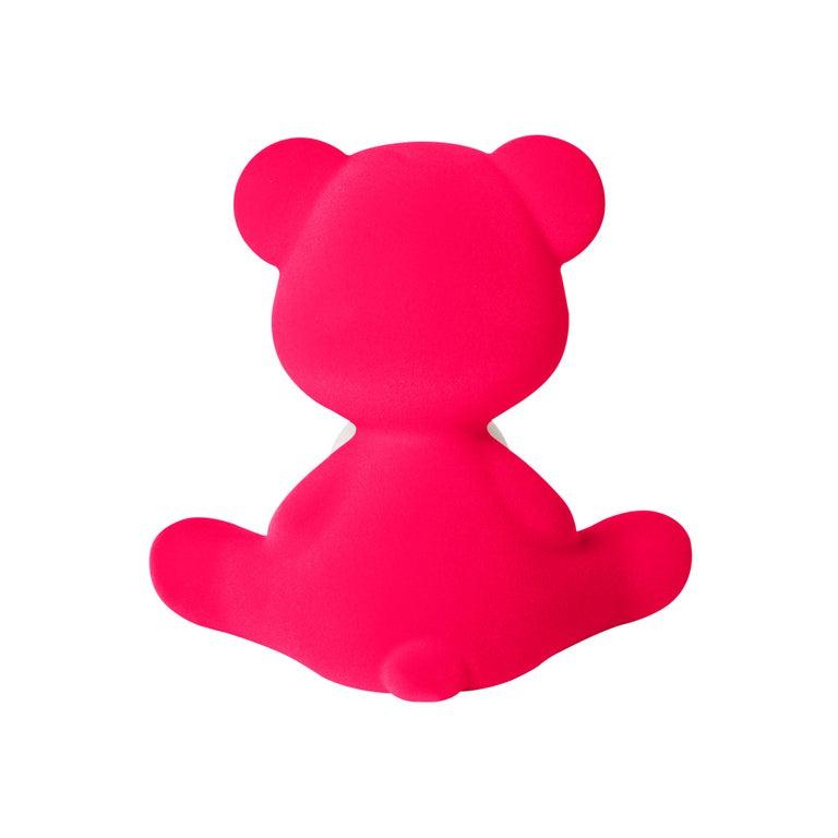 For Sale: Pink (Fuxia) Modern Velvet Yellow Sculptural Teddybear Table or Floor Lamp 7