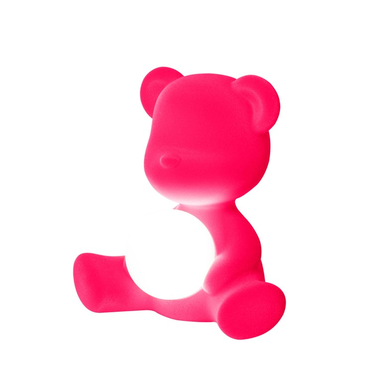For Sale: Pink (Fuxia) Modern Velvet Yellow Sculptural Teddybear Table or Floor Lamp 9