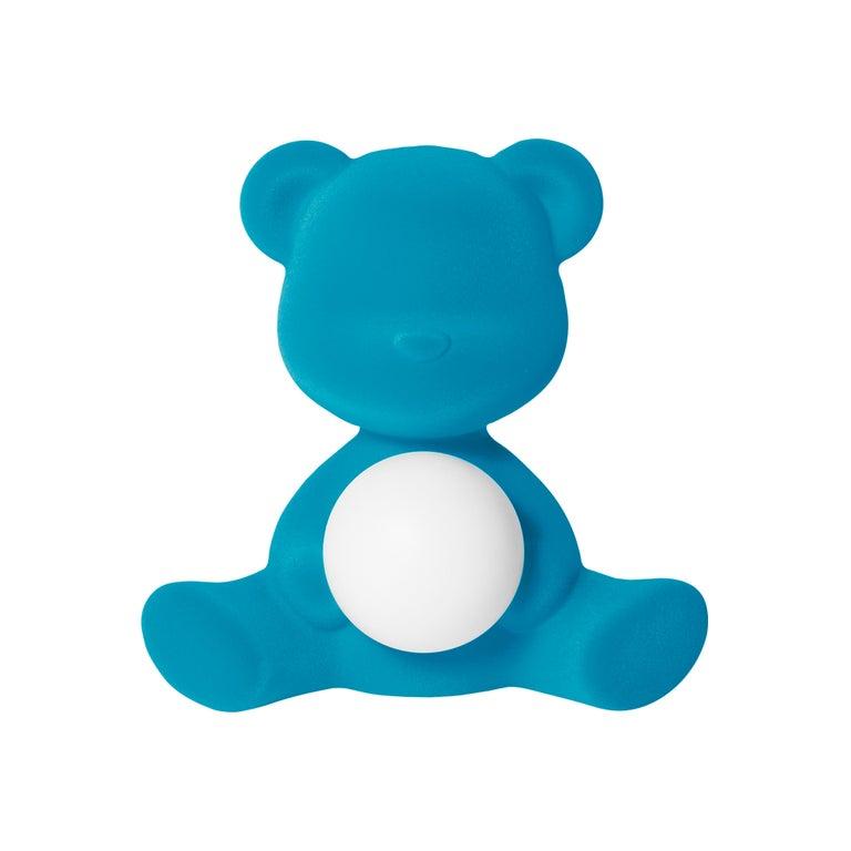 For Sale: Blue (Light Blue) Modern Velvet Yellow Sculptural Teddybear Table or Floor Lamp
