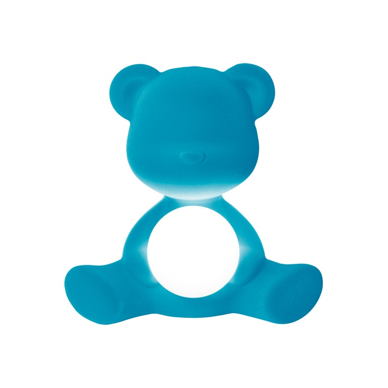 For Sale: Blue (Light Blue) Modern Velvet Yellow Sculptural Teddybear Table or Floor Lamp 2