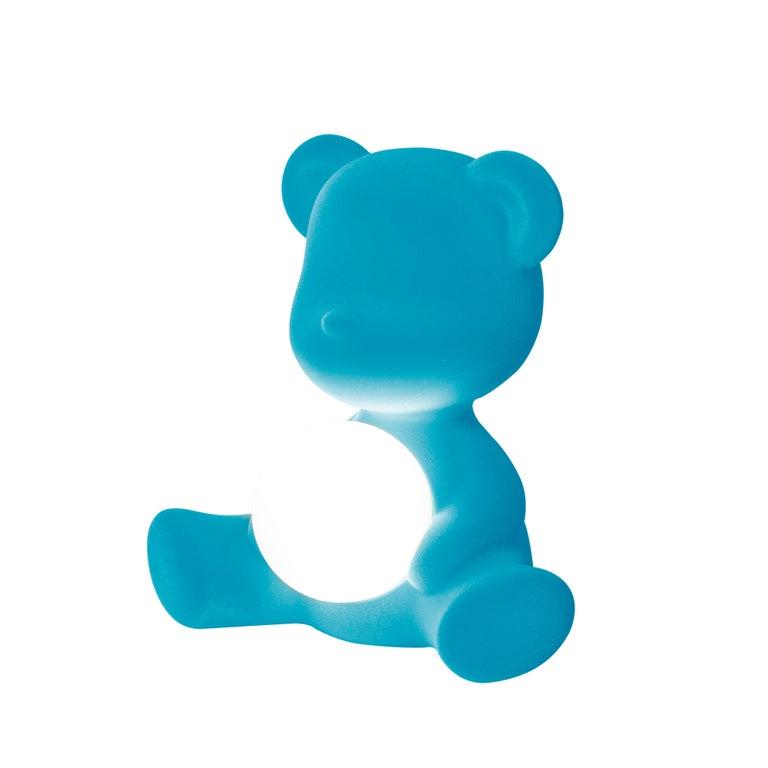For Sale: Blue (Light Blue) Modern Velvet Yellow Sculptural Teddybear Table or Floor Lamp 4