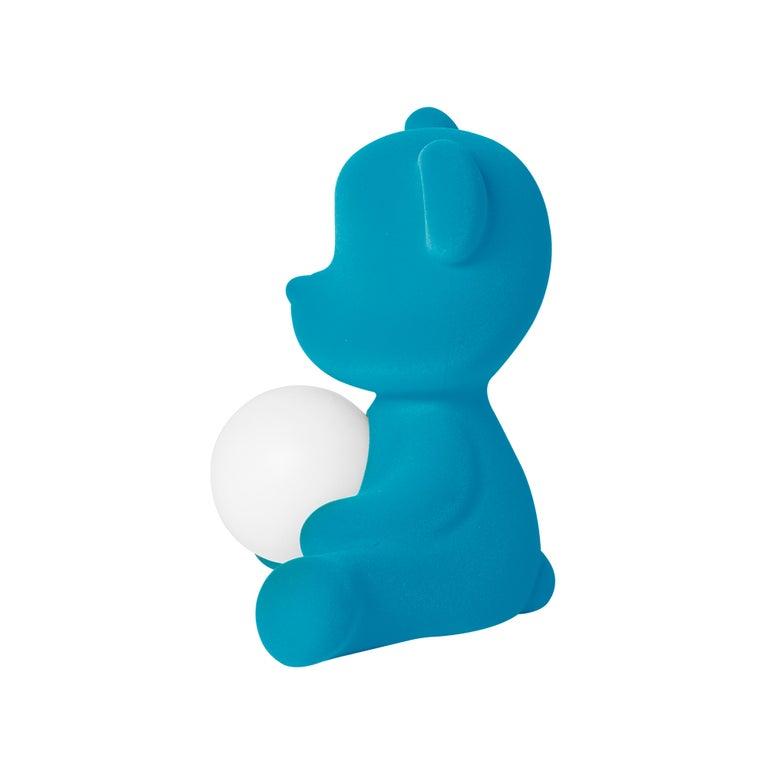 For Sale: Blue (Light Blue) Modern Velvet Yellow Sculptural Teddybear Table or Floor Lamp 5