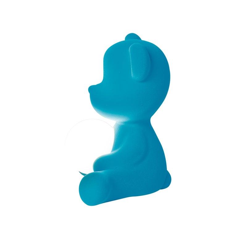 For Sale: Blue (Light Blue) Modern Velvet Yellow Sculptural Teddybear Table or Floor Lamp 6