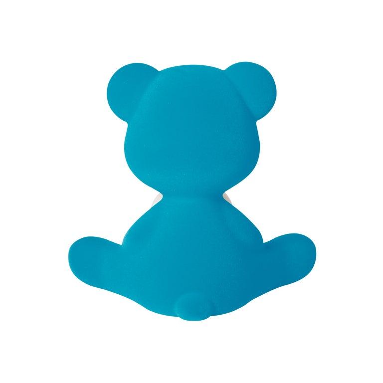 For Sale: Blue (Light Blue) Modern Velvet Yellow Sculptural Teddybear Table or Floor Lamp 7