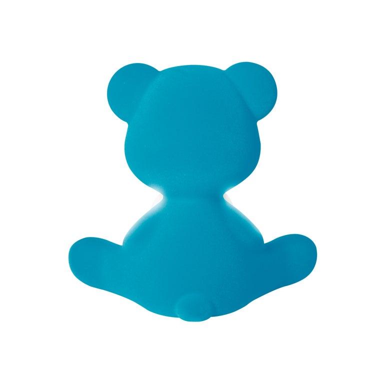 For Sale: Blue (Light Blue) Modern Velvet Yellow Sculptural Teddybear Table or Floor Lamp 8
