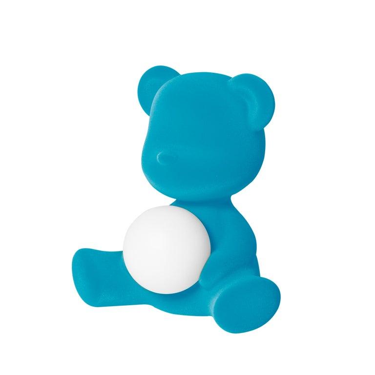 For Sale: Blue (Light Blue) Modern Velvet Yellow Sculptural Teddybear Table or Floor Lamp 9