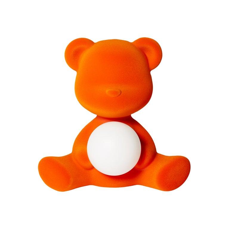 For Sale: Orange Modern Velvet Yellow Sculptural Teddybear Table or Floor Lamp