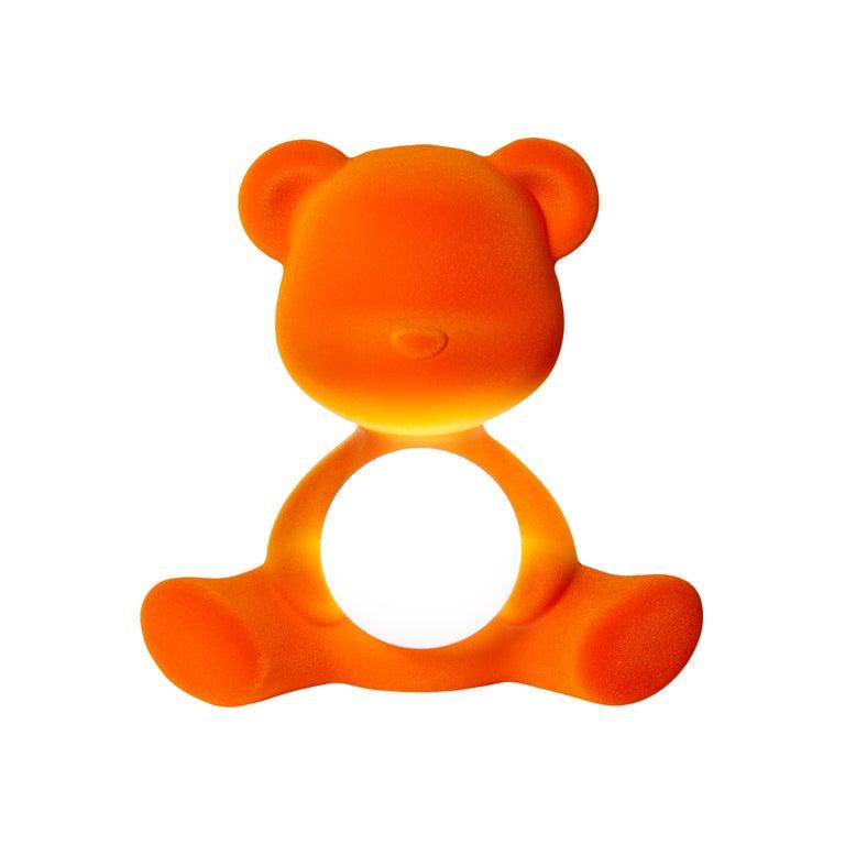 For Sale: Orange Modern Velvet Yellow Sculptural Teddybear Table or Floor Lamp 2