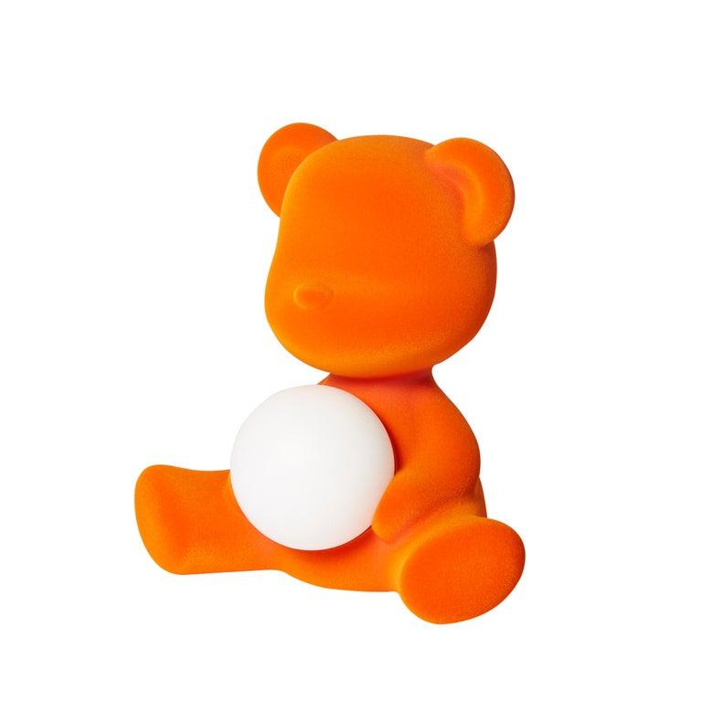 For Sale: Orange Modern Velvet Yellow Sculptural Teddybear Table or Floor Lamp 3