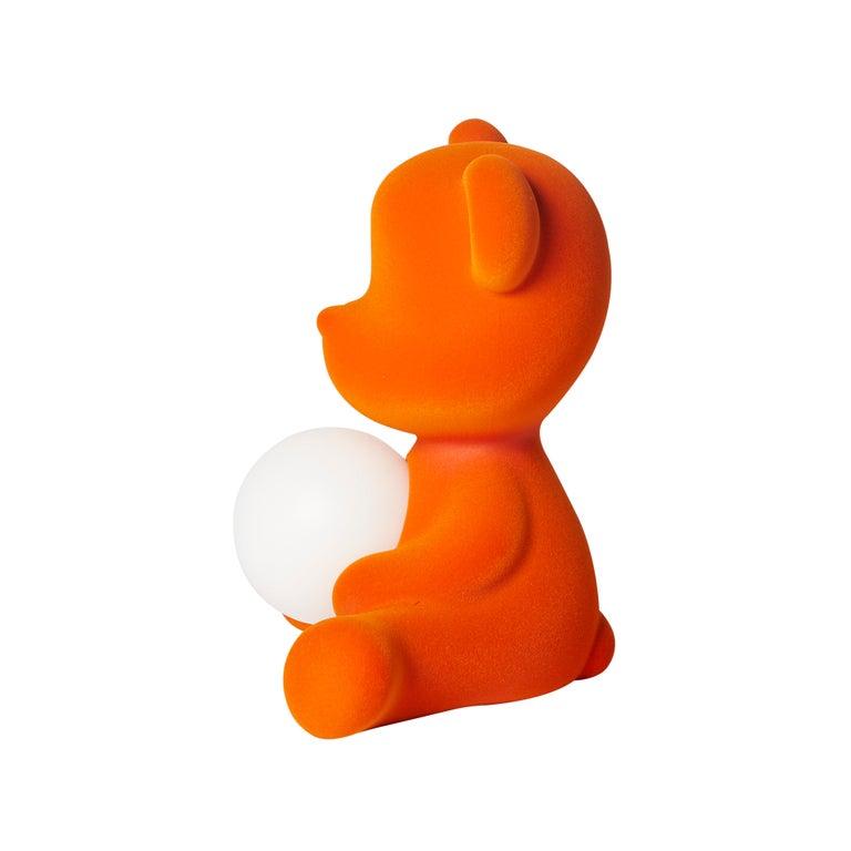 For Sale: Orange Modern Velvet Yellow Sculptural Teddybear Table or Floor Lamp 5