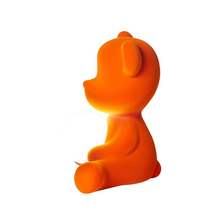 For Sale: Orange Modern Velvet Yellow Sculptural Teddybear Table or Floor Lamp 6