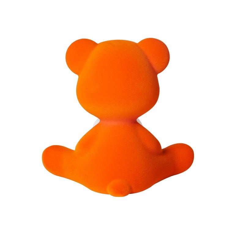 For Sale: Orange Modern Velvet Yellow Sculptural Teddybear Table or Floor Lamp 7