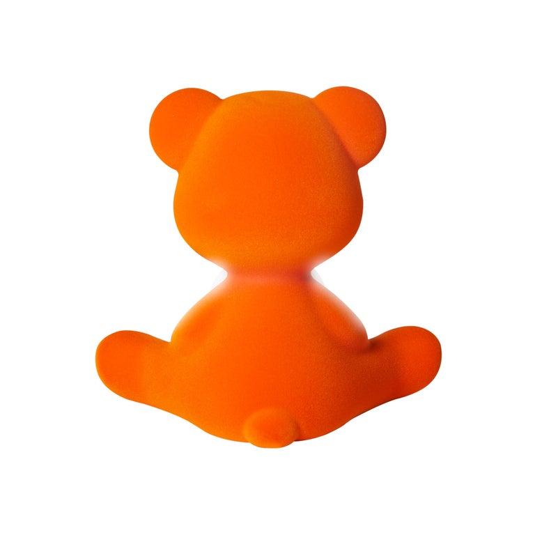 For Sale: Orange Modern Velvet Yellow Sculptural Teddybear Table or Floor Lamp 8