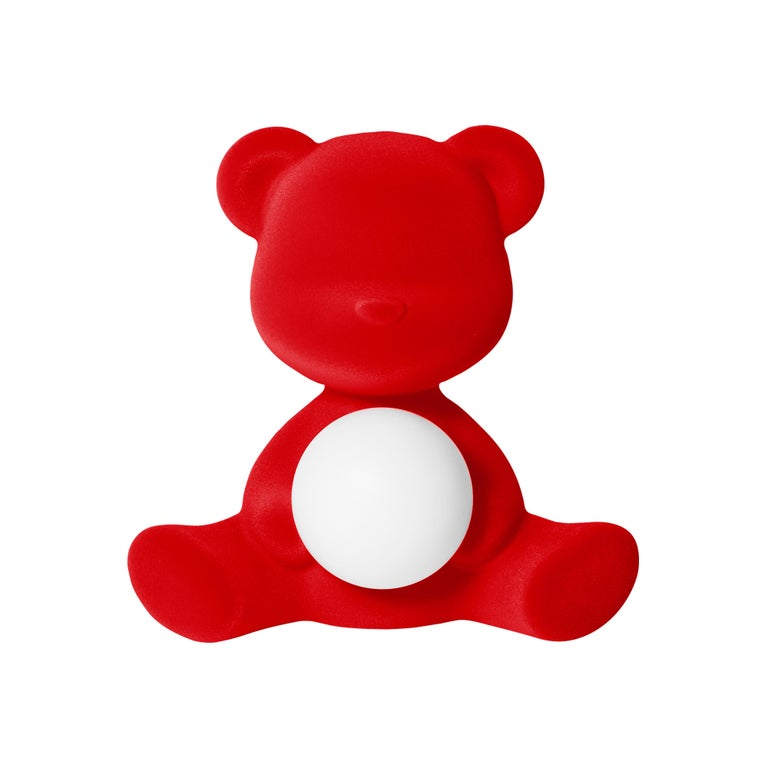 For Sale: Red Modern Velvet Yellow Sculptural Teddybear Table or Floor Lamp
