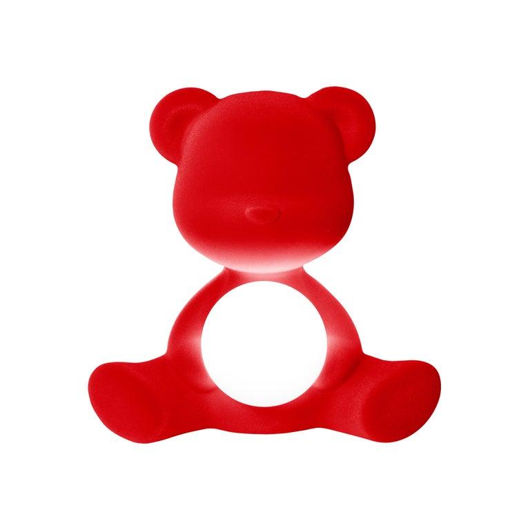 For Sale: Red Modern Velvet Yellow Sculptural Teddybear Table or Floor Lamp 2