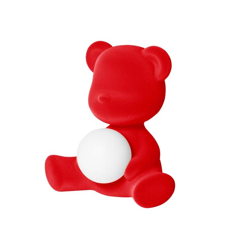 For Sale: Red Modern Velvet Yellow Sculptural Teddybear Table or Floor Lamp 3