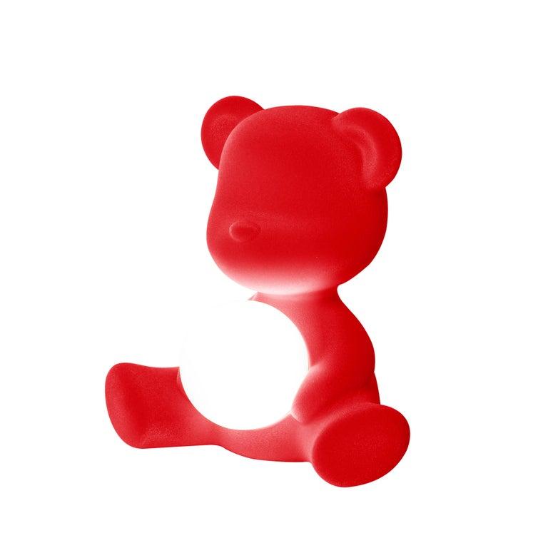 For Sale: Red Modern Velvet Yellow Sculptural Teddybear Table or Floor Lamp 4