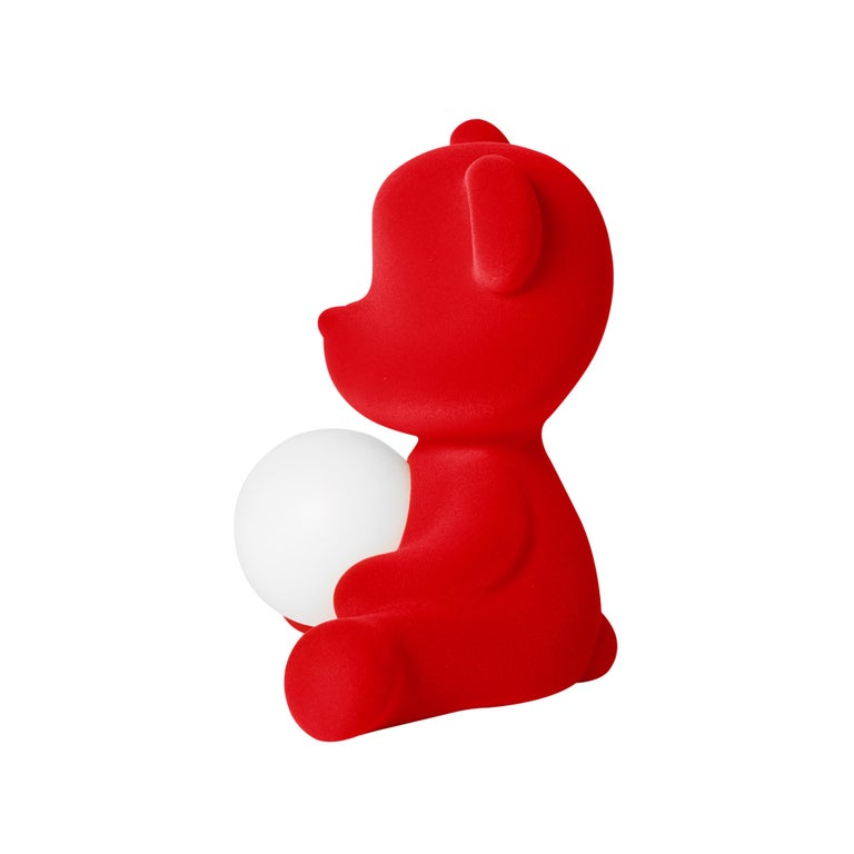 For Sale: Red Modern Velvet Yellow Sculptural Teddybear Table or Floor Lamp 5