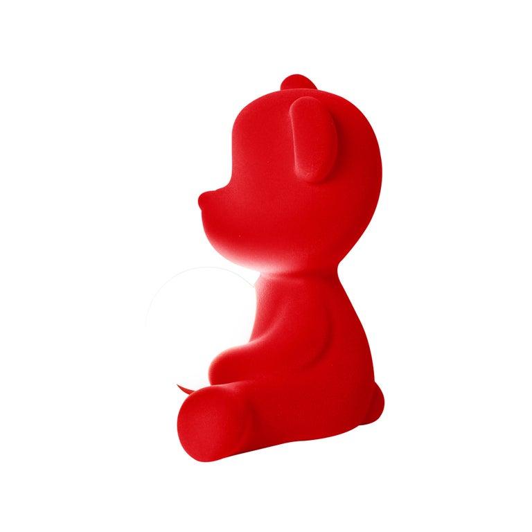 For Sale: Red Modern Velvet Yellow Sculptural Teddybear Table or Floor Lamp 6