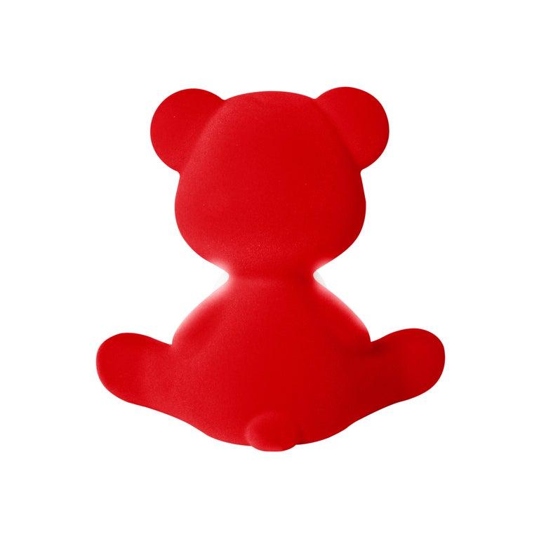 For Sale: Red Modern Velvet Yellow Sculptural Teddybear Table or Floor Lamp 7