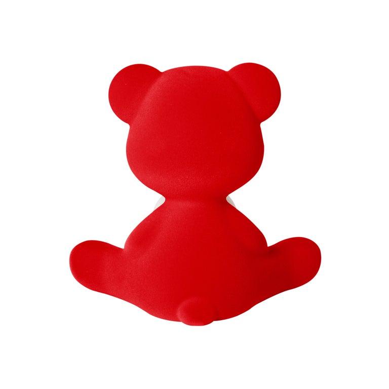 For Sale: Red Modern Velvet Yellow Sculptural Teddybear Table or Floor Lamp 8