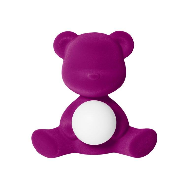 For Sale: Purple (Violet) Modern Velvet Yellow Sculptural Teddybear Table or Floor Lamp