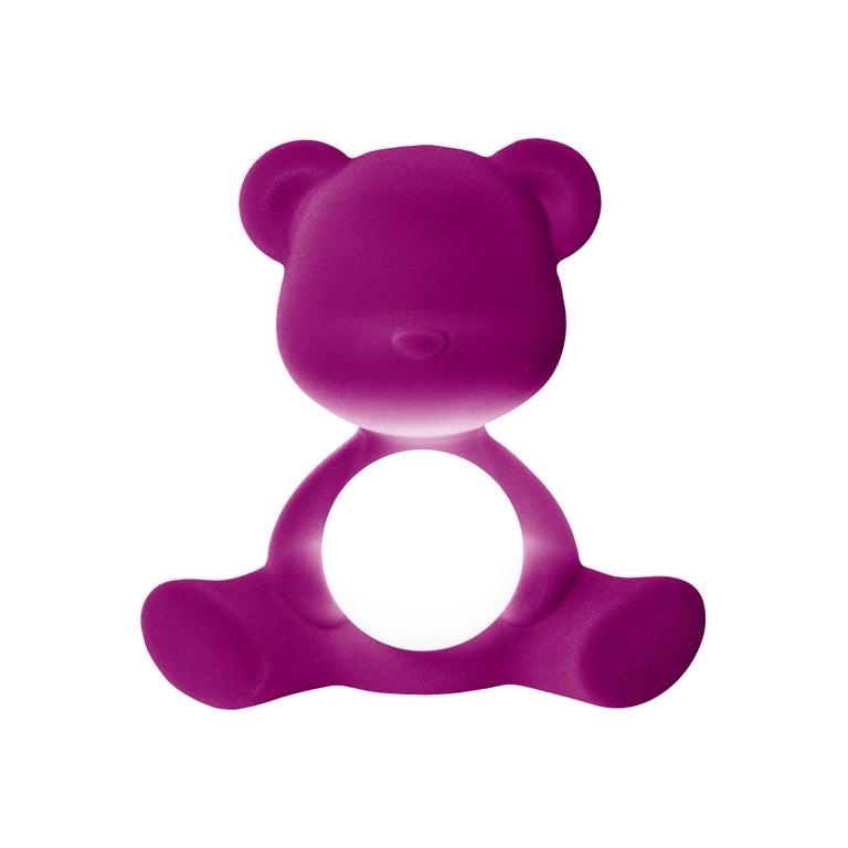 For Sale: Purple (Violet) Modern Velvet Yellow Sculptural Teddybear Table or Floor Lamp 2