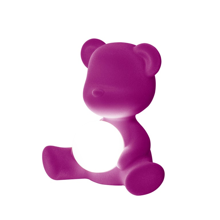For Sale: Purple (Violet) Modern Velvet Yellow Sculptural Teddybear Table or Floor Lamp 4