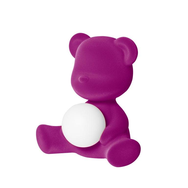For Sale: Purple (Violet) Modern Velvet Yellow Sculptural Teddybear Table or Floor Lamp 3