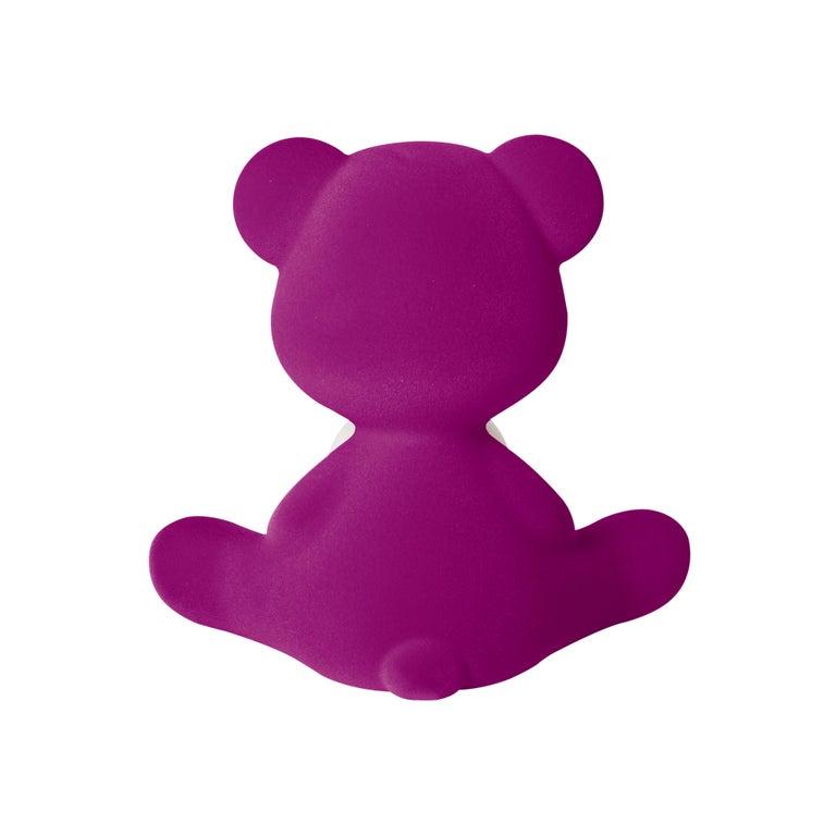 For Sale: Purple (Violet) Modern Velvet Yellow Sculptural Teddybear Table or Floor Lamp 7