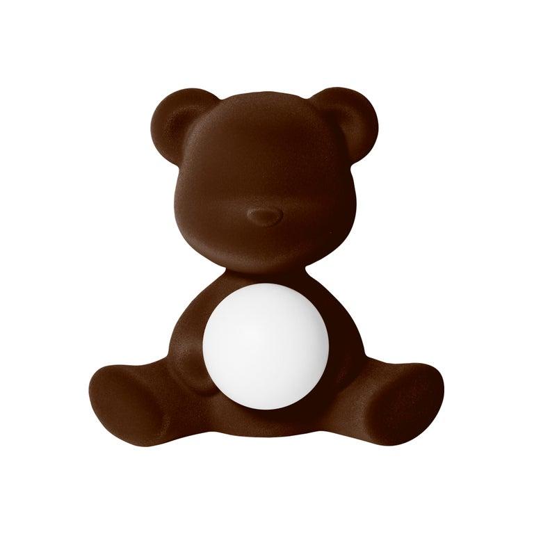 For Sale: Brown (Dark Brown) Modern Velvet Yellow Sculptural Teddybear Table or Floor Lamp
