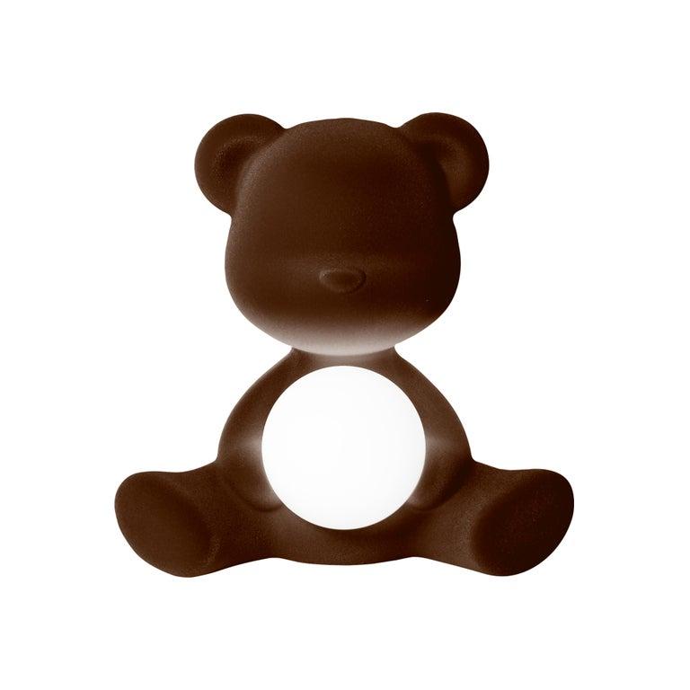 For Sale: Brown (Dark Brown) Modern Velvet Yellow Sculptural Teddybear Table or Floor Lamp 2