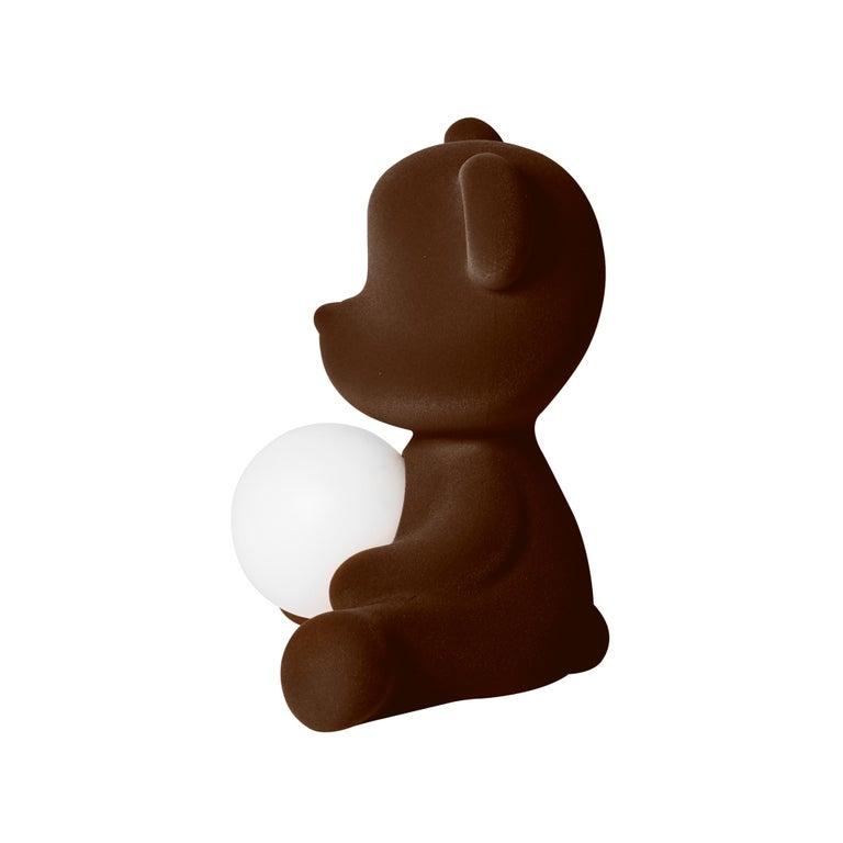 For Sale: Brown (Dark Brown) Modern Velvet Yellow Sculptural Teddybear Table or Floor Lamp 5