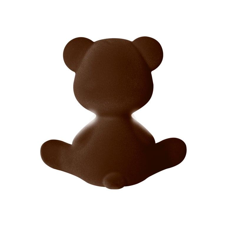 For Sale: Brown (Dark Brown) Modern Velvet Yellow Sculptural Teddybear Table or Floor Lamp 8