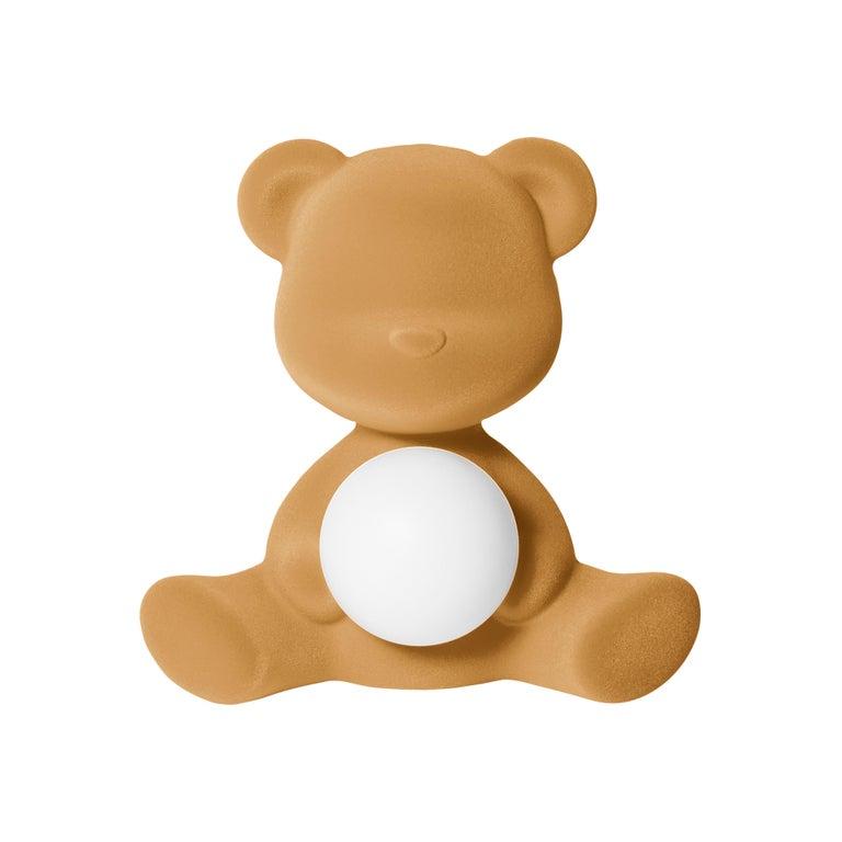 For Sale: Beige (Arena) Modern Velvet Yellow Sculptural Teddybear Table or Floor Lamp