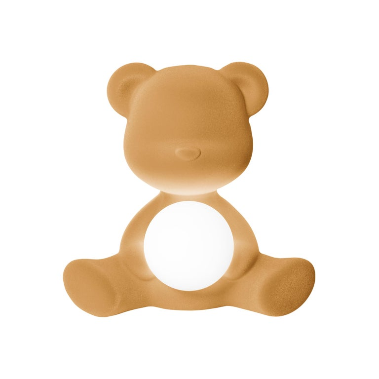For Sale: Beige (Arena) Modern Velvet Yellow Sculptural Teddybear Table or Floor Lamp 2
