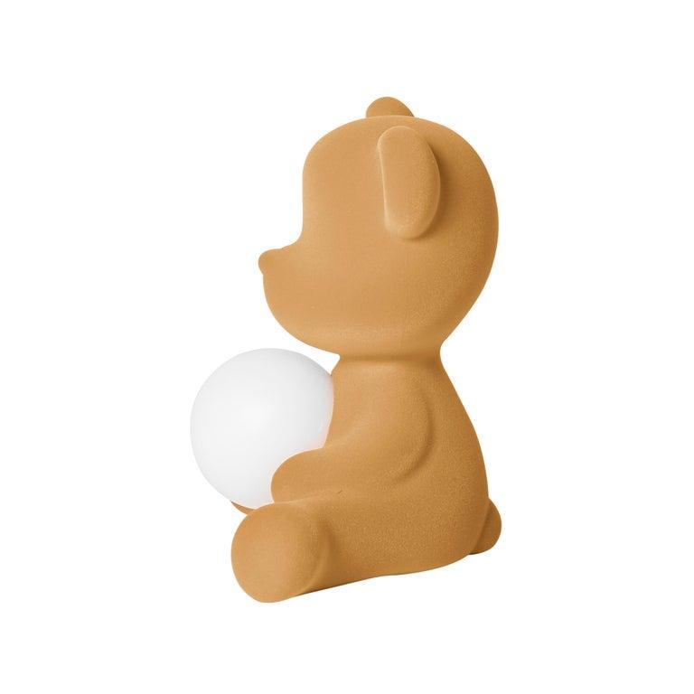 For Sale: Beige (Arena) Modern Velvet Yellow Sculptural Teddybear Table or Floor Lamp 5