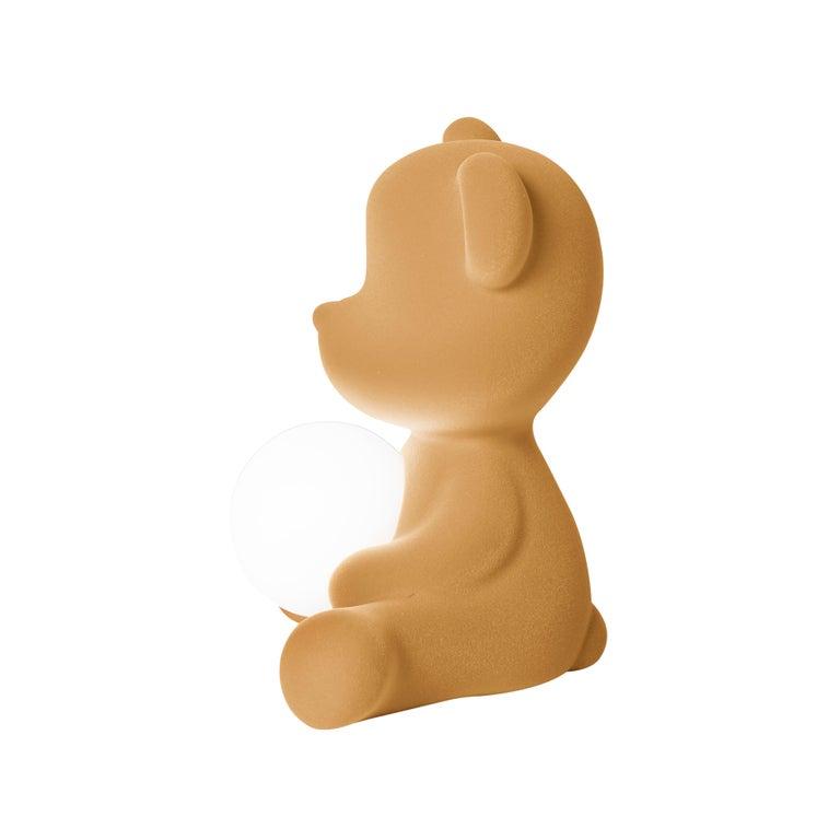 For Sale: Beige (Arena) Modern Velvet Yellow Sculptural Teddybear Table or Floor Lamp 6