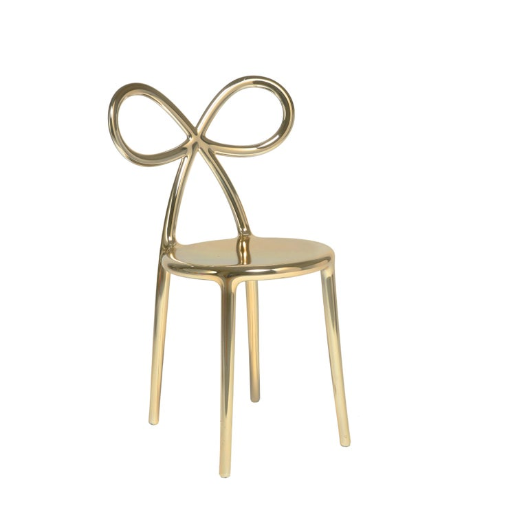 For Sale: Gold Qeeboo Ribbon Chair Metal Finish by Nika Zupanc 2